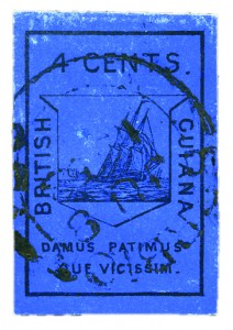 Stamp British Guiana 4c blue