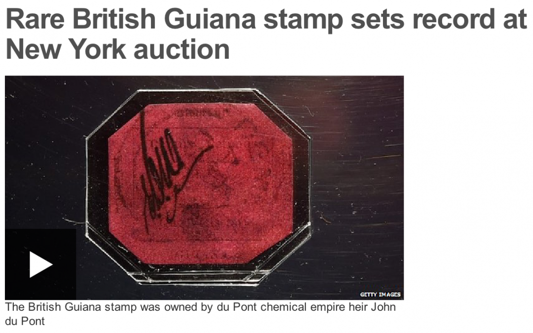 BBC: Rare British Guiana stamp sets record at New York auction