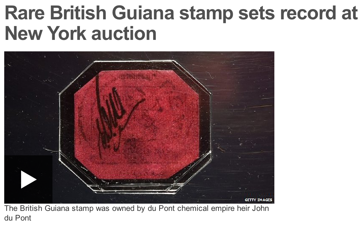 BBC: Rare British Guiana stamp sets record at New York auction