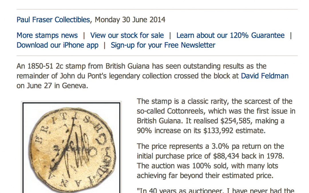 Press article: British Guiana 1850 2c stamp auctions with 90% increase in Du Pont sale