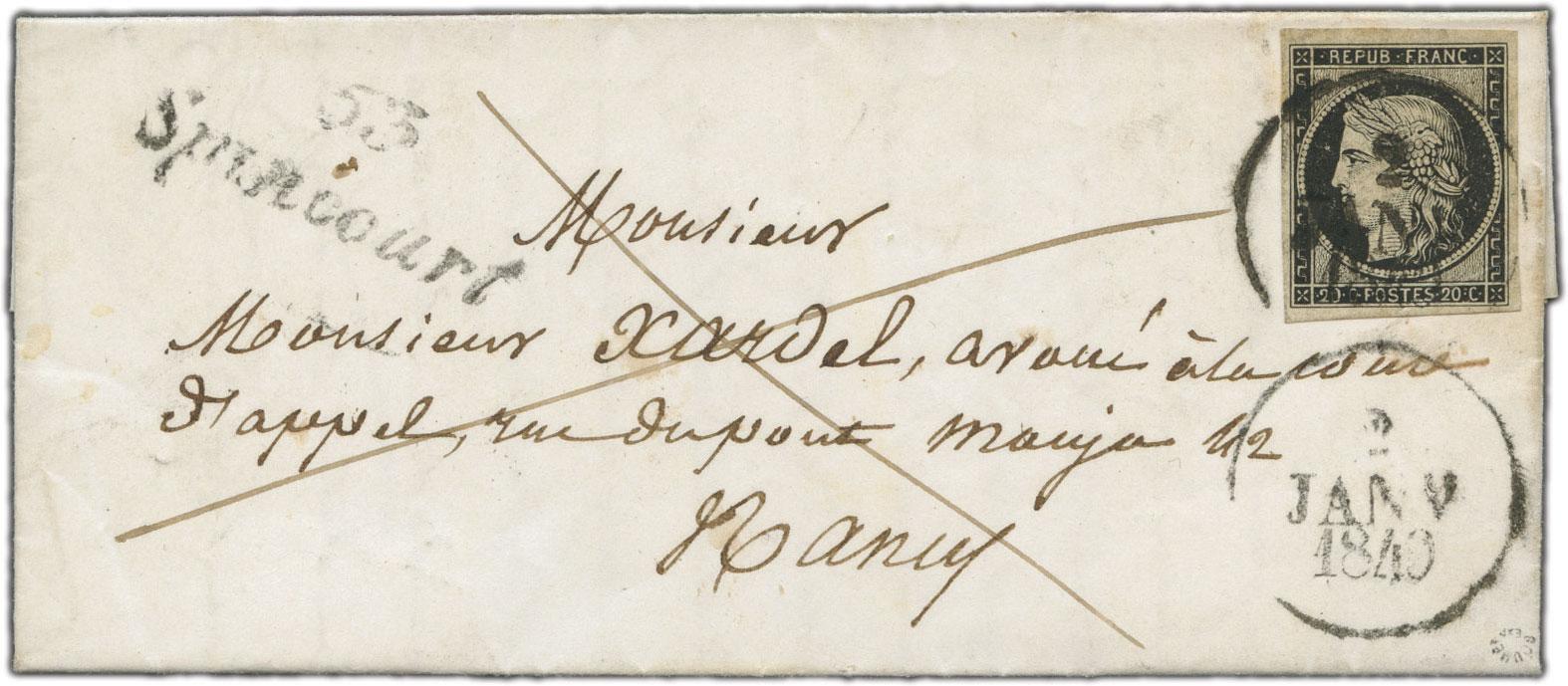 Enveloppe France 1849