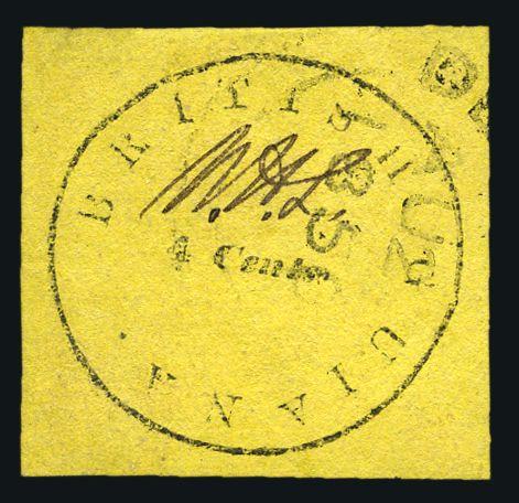 British Guiana 1850 4c black on orange Cotton-reel