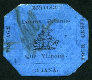 British Guiana 1856 4c black on blue
