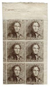 Belgium 1849 10c mint block