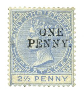 "stamp St. Christopher 1888 ""ONE PENNY."""