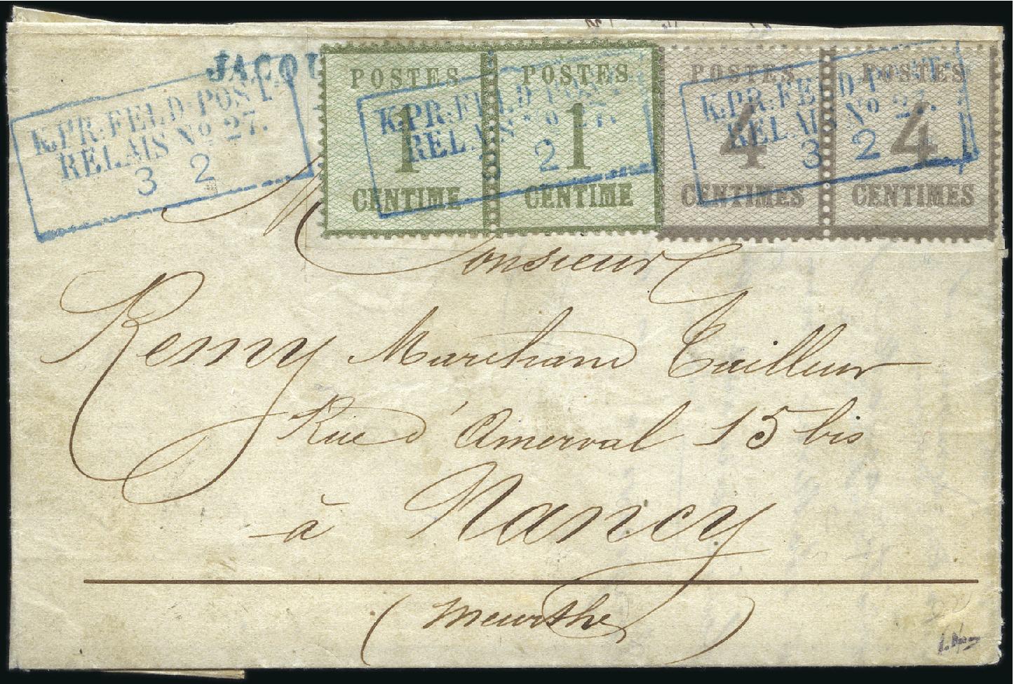 1871 Lettre de Sedan pour Nancy avec Alsace-Lorraine n°1