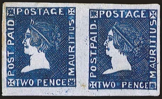 Mauritius 1859 Sherwin unused pair from the Kanai collection