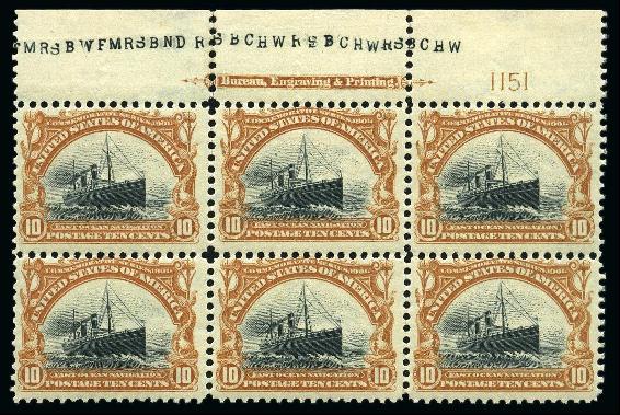 1901 10c Pan American Exposition 'imprint' plate block of six