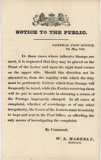 Postal Notice 1840