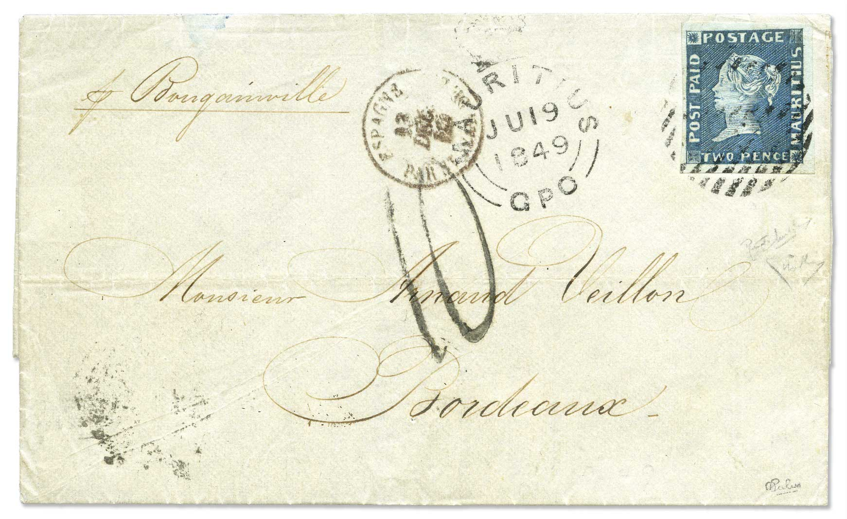 1848 2d Post Paid cover sold for 30k