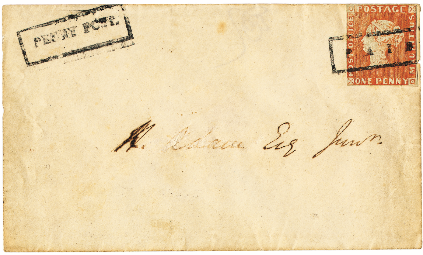 "1847 Mauritius ""Post Office"" 1d tied to an envelope by a rectangular ""PAID"","