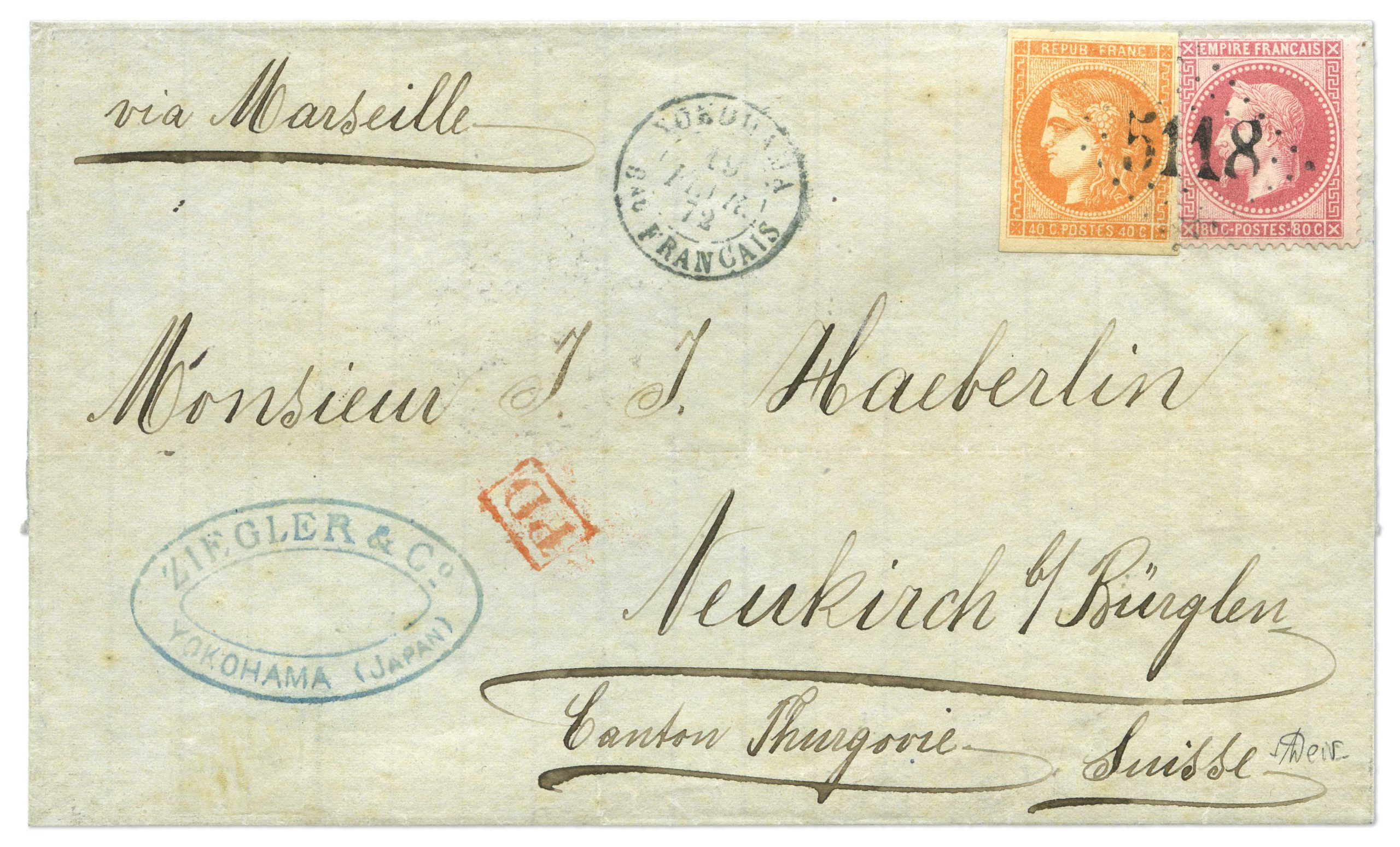 1876 cover with the extremely rare usage of the imperforate 'Bordeaux' 40c in combination with an Empire Laureated' 80 tied by the '5118' numeral which was the lozenaged