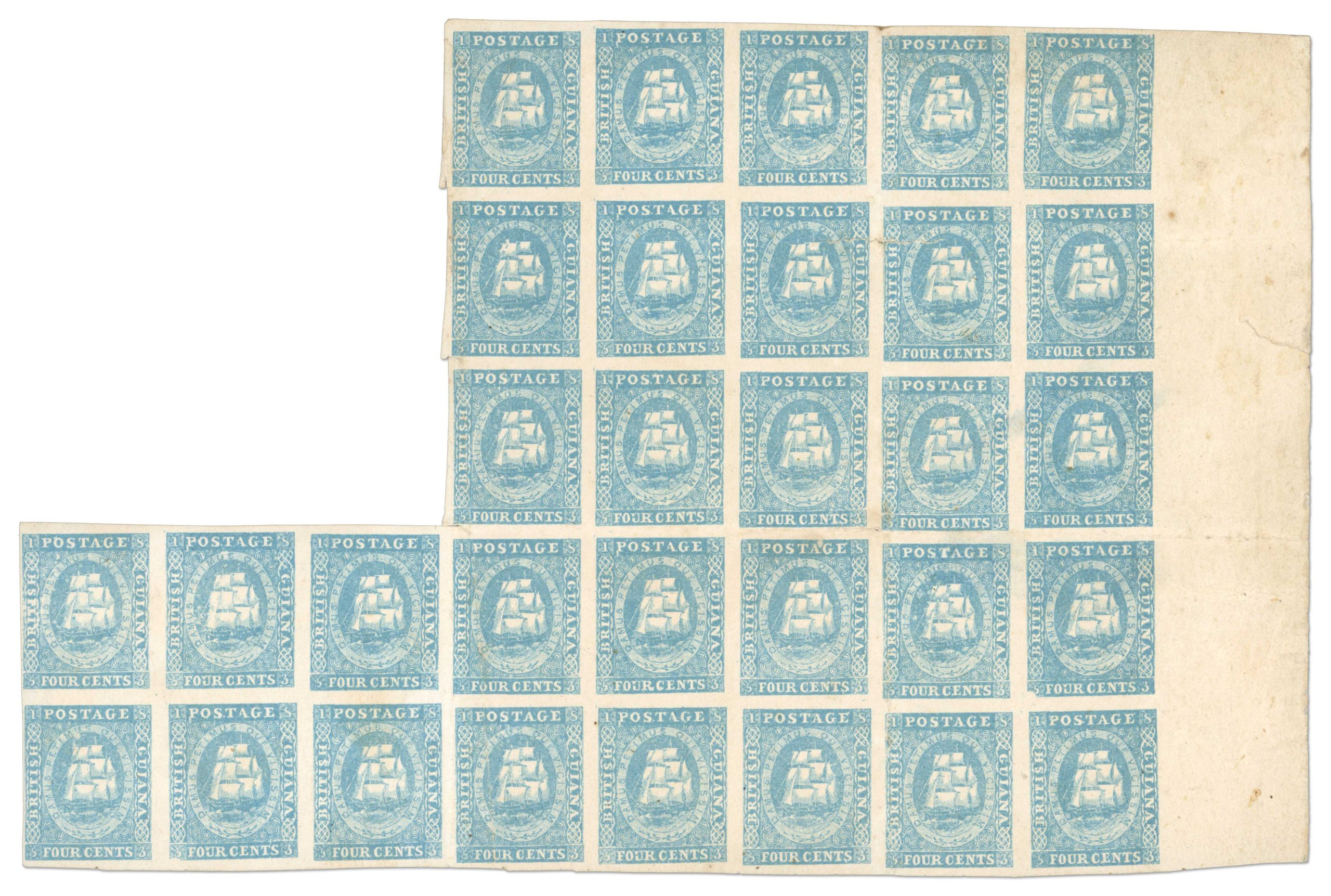 1853-55 Waterlow Lithographed 4 cent pale blue unused block of 31