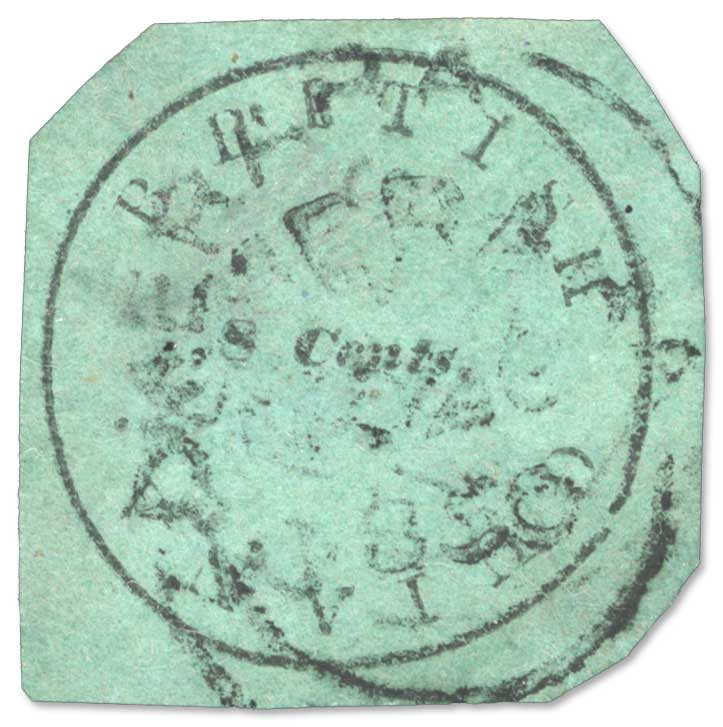 Lot Number 30024. 1850-51 8 cents black on blue-green, Townsend Type D, wide margins, used Demerara