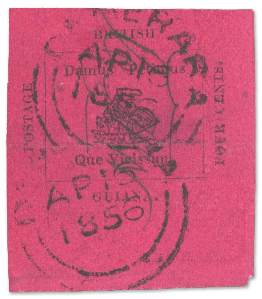 Lot Number: 30099. 1856 Provisional 4 cents black on magenta used in Demerara