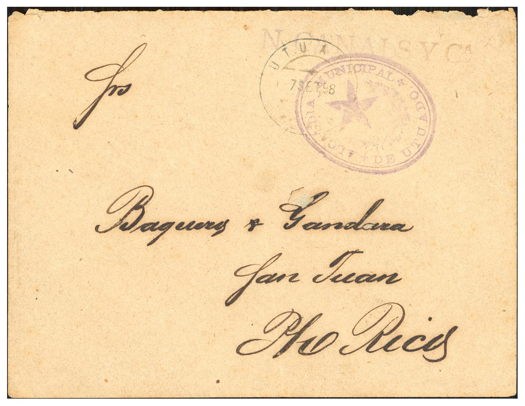 Utuado Provisional. 1898 (Sept 7). Cover